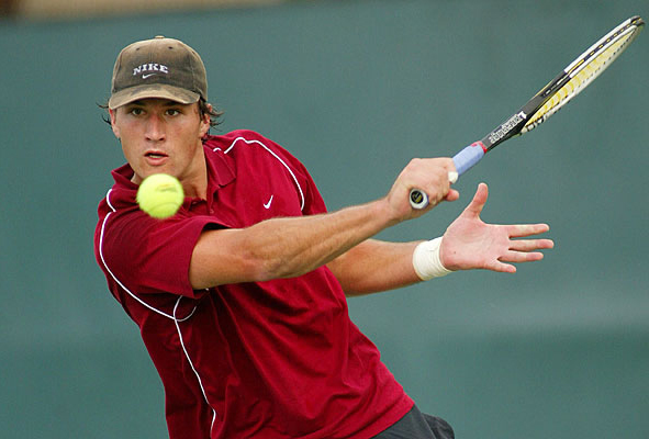 Junior James Pade is known for his big serve and overpowering forehand.